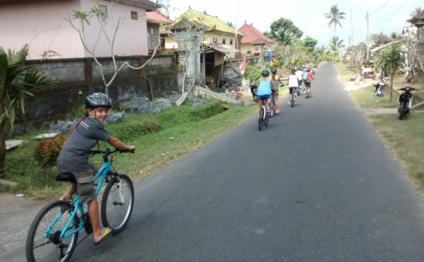 Biking down mountains in Bali